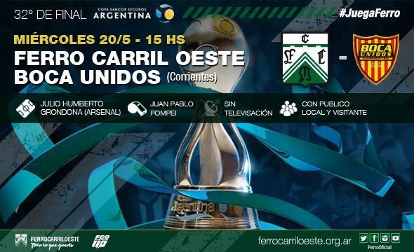 Copa Argentina: Hoy Ferro vs Boca Unidos